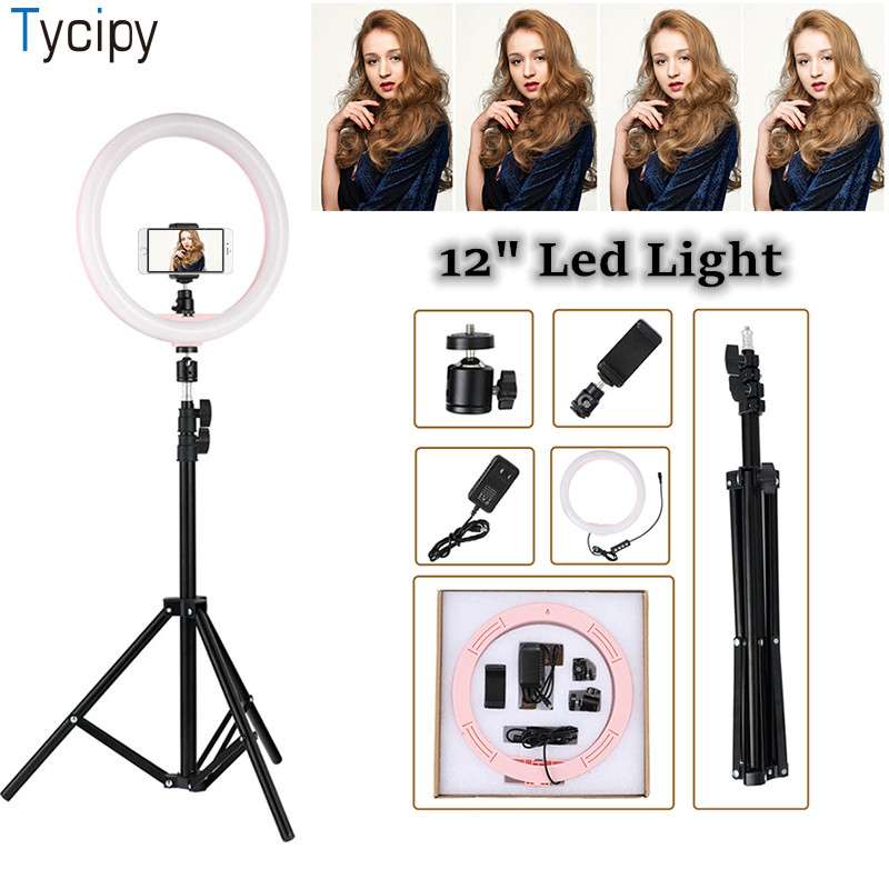 Tycipy 12 LED Ring Light Dimmable Photography 24W Photo Studio Light for Iphone Xiaomi Smartphone with Tripod Phone HolderTycipy 12 LED Ring Light Dimmable Photography 24W Photo Studio Light for Iphone Xiaomi Smartphone with Tripod Phone Holder