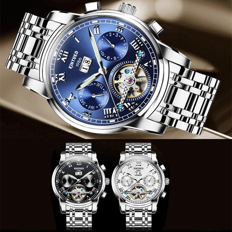 KINYUED automatyczne męskie zegarki mechaniczne biznesu ze stali nierdzewnej Luminous Top marka zegarek mężczyźni pełna kalendarz Relogio Masculino w Zegarki mechaniczne od Zegarki na  Grupa 2