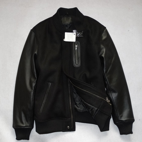 Mens black leather baseball jacket – Modern fashion jacket photo blog
