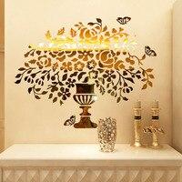 Bling Bling Fleurs et Vase Conception Acrylique Autocollants DIY Autocollant pour Salon Entrée Boutique Décorations Murales