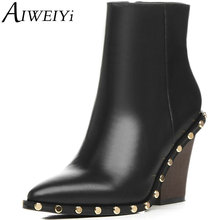 AIWEIYi Vintage Style Genuine Leather Women Boots Wedges Shoes Booties Cowhide Women's Shoes Side Zip Ankle Boots Zapatos Mujer