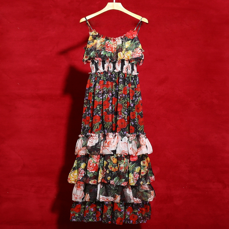 Red RoosaRosee Runway Boho Holiday Party Summer Maxi Dress Women s Elastic Waist Ruffles Floral Print