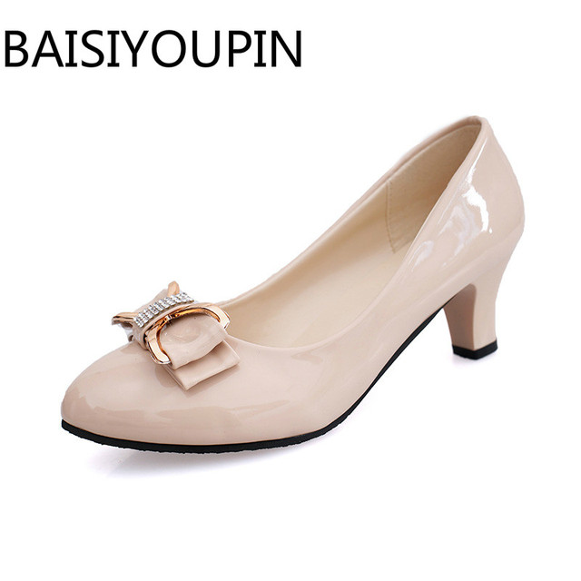18ca87d3bb81 Women Simple Bow Low Heels Shoes Shallow Shoes Pointed Single Female Nude  Black Patent Leather Work Shoes Dress Wedding Shoes