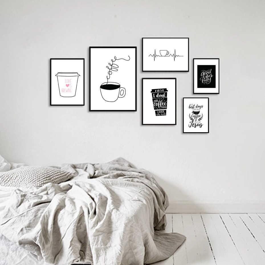 Pósteres de lienzo con diseño de taza para té y café, cuadros artísticos de pared impresos para cafetería, Bar, tienda, salón, comedor, decoración del hogar