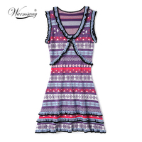 High Quality Korean Brand vintage Aztec Summer lurex Dress for Women Female Tunic 2018 Chic Party Ruffles Dresses C 179