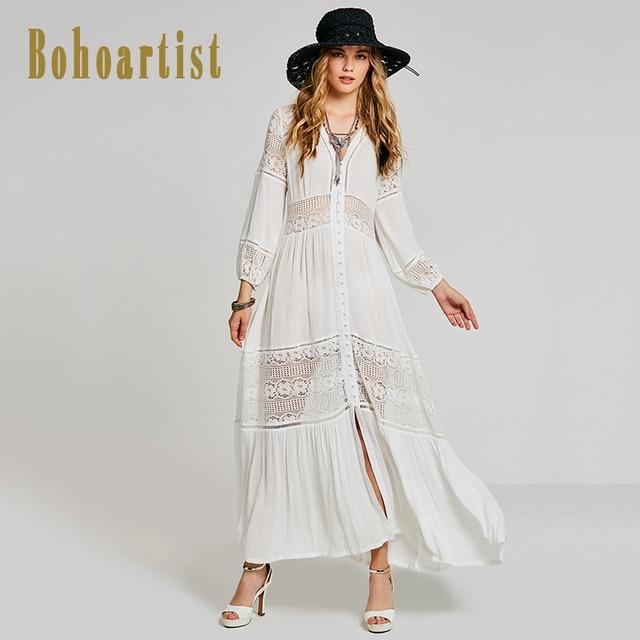 Boho White Long Maxi Dresses