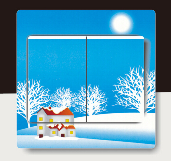Blue winter snow Christmas Sticker switch stickers wall pvc transparent switch stickers home decor living Holiday arrangement