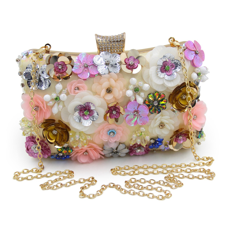 TFTP-Women Clutches Colorful Flower Evening Bag Sequins Clutch Purse