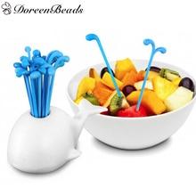 DoreenBeads 1 Lot ( About 16 PCs ) Lovely Dinnerware Creative Moby Dick Beluga Spray Vegetable Fruit Fork Dessert Salad Fork
