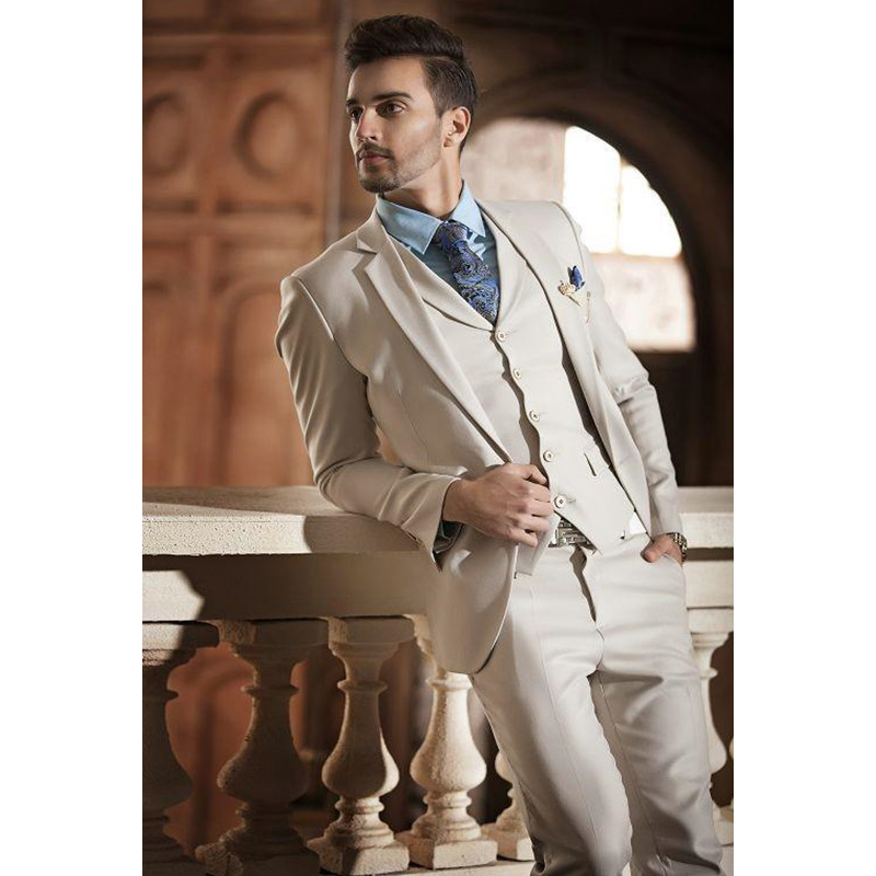 Hot Sale Beige Two Buttons Notch Lapel Men Suits Slim Fit CostumeWedding Dress Groom Tuxedos Prom Suits Jacket+Pant+Vest
