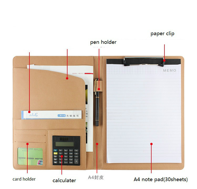 A4 PU Leather File Folder Multi-function Business File Folder Organizer for Documents Office Menu Holder Binder Student Factory