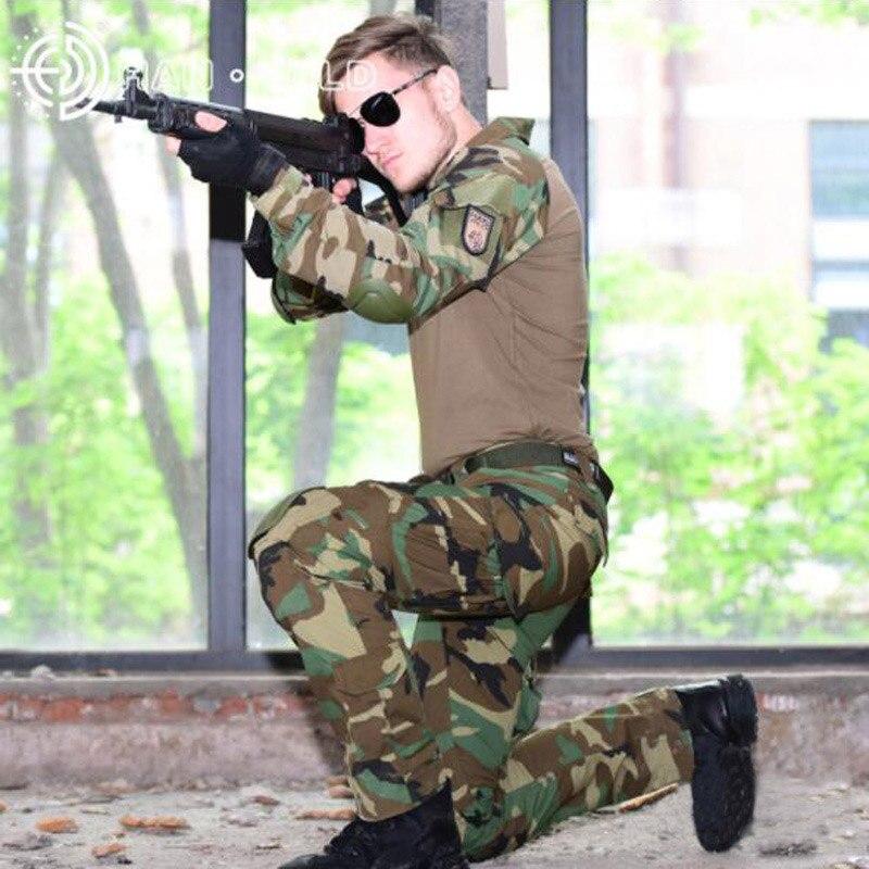 Camouflage Chasse Vêtements Tactique Costumes Woodland Jungle Militaire Uniforme Airsoft Sniper Combat Shirt + Pantalon + Genou Coudières