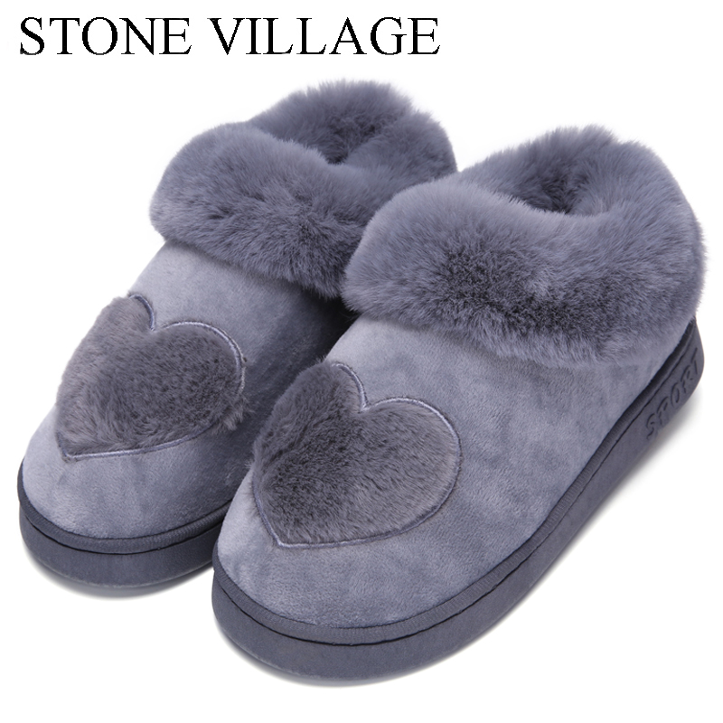 New Arrival Heart Shaped Cotton Women Slippers Warm Plush Winter Fur Slippers Soft Indoor Shoes Flat