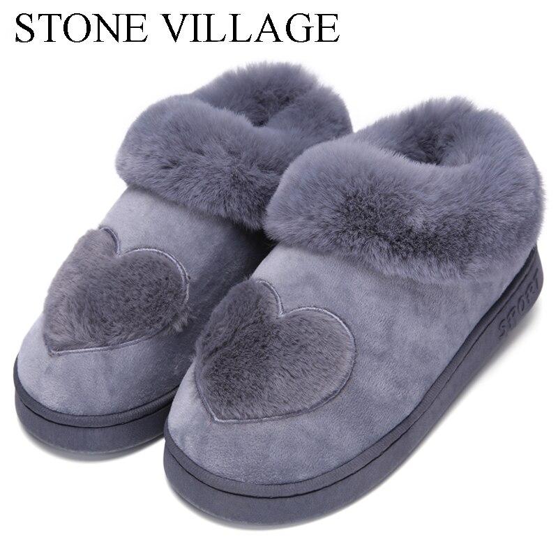 Nueva llegada en forma de corazón de algodón de las mujeres zapatillas de felpa caliente invierno piel zapatillas de interior zapatos planos con Zapatillas de casa