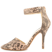 Snakeskin Two Piece Pointed Toe Ankle Strap Large Size Shoes Pump High Heels Nude Bottom High Heels US14 Casade Shoes Women