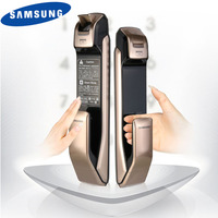 SAMSUNG SHP DP728 Keyless BlueTooth Fingerprint PUSH PULL Two Way Digital Door Lock English Version Big Mortise Gold Color