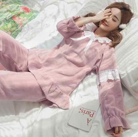 Fdfklak מתוק תלמיד של פיג 'מה סט ארוך שרוול פלנל פיג' מות סטי עבה חם חורף הלבשת פיג גדול גודל pyjama femme