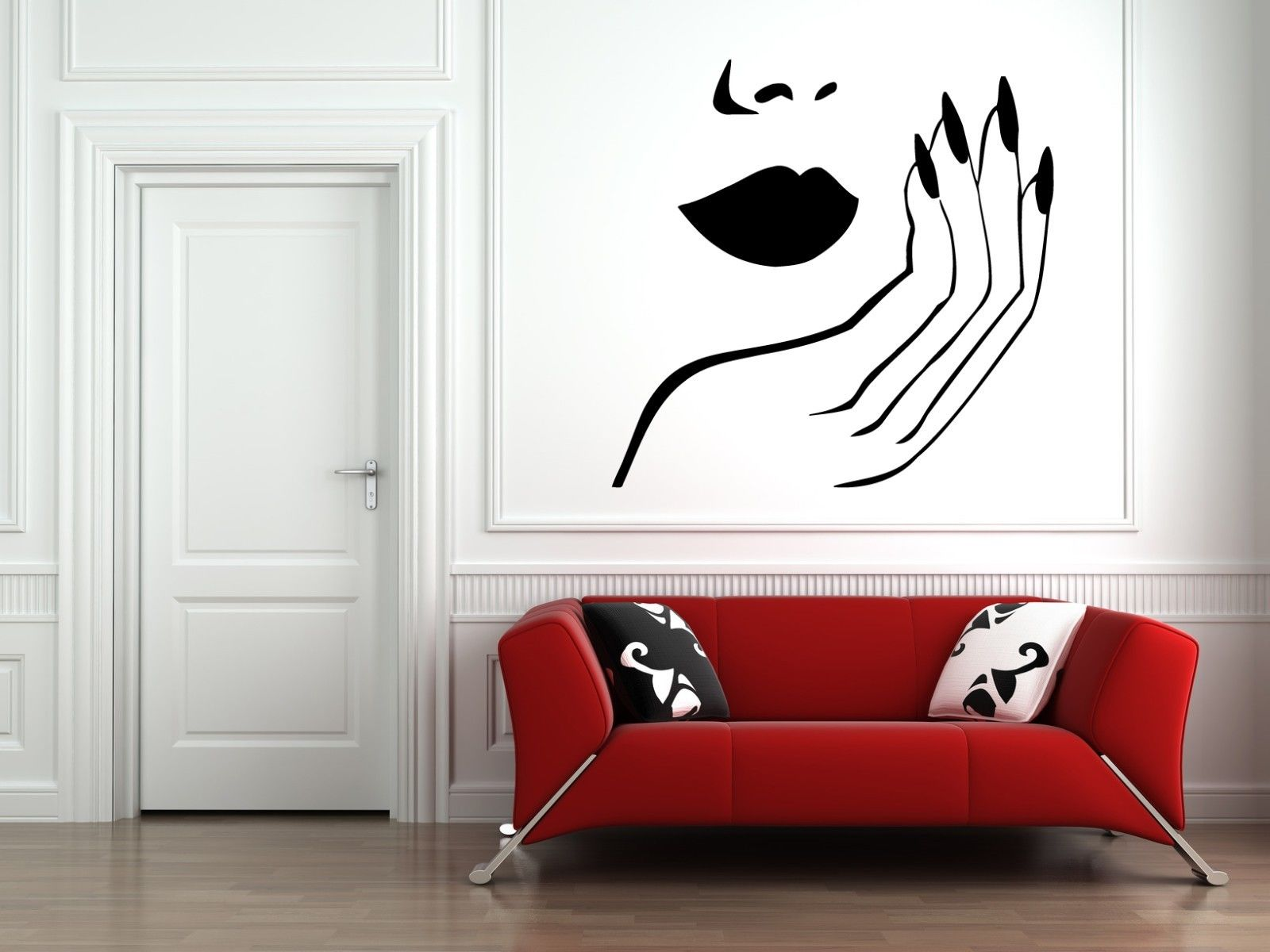 HWHD Wall Decal Sticker bedroom nail salon woman face lips hand nail art cute free shipping