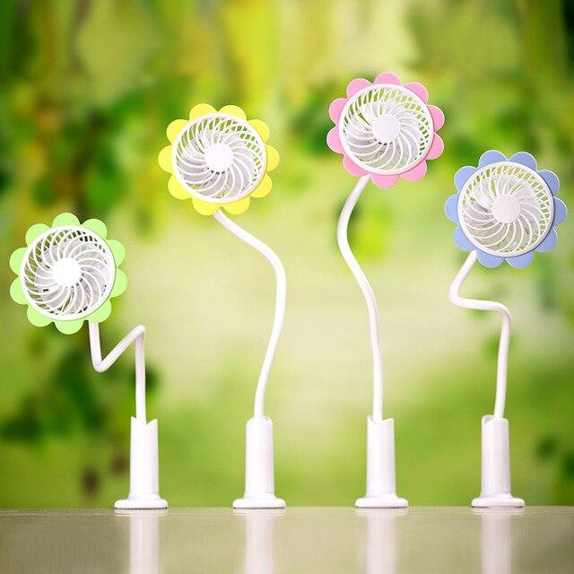 Moda mini USB ventilador con clip Sol flor forma flexible recargable ...