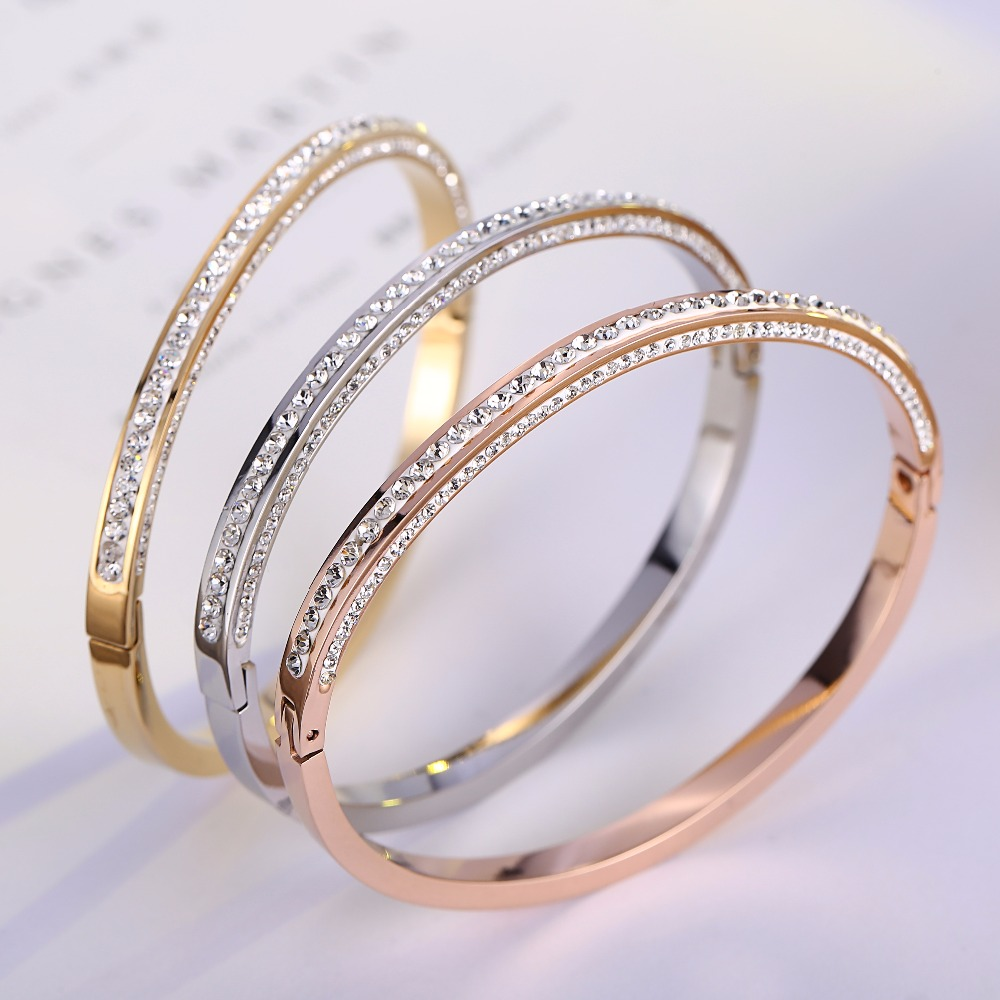 Top Quality Rhinestone brand Fashion Jewelry Cuff  Bangles 316L Stainless Steel Bracelets For Women