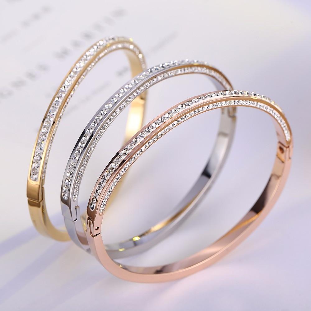 Topp kvalitet Rhinestone merkevare smykker mansjett armbånd 316L rustfritt stål armbånd for kvinner