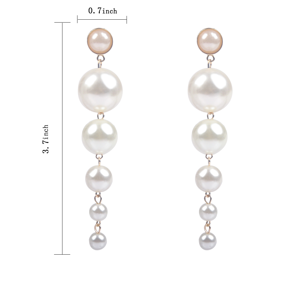 XZP Trendy Elegant Created Big Simulated Pearl Long Drop Dangle Earrings Pearls String Statement Earrings For Wedding Party Gift in Drop Earrings from Jewelry Accessories
