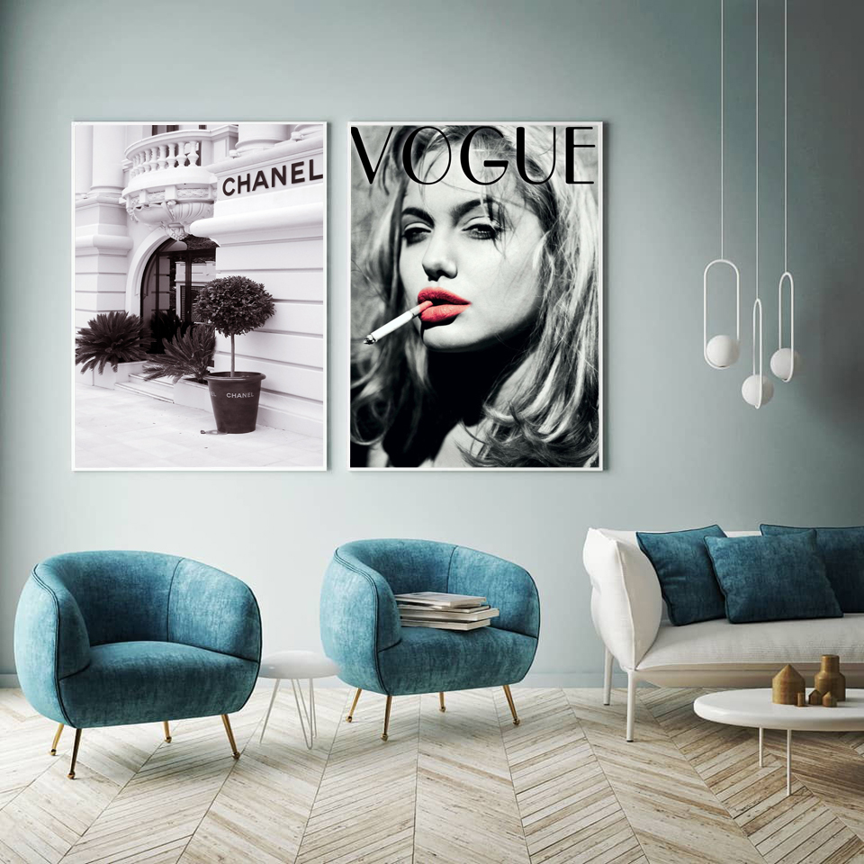 Vogue Angelina Jolie Posters and Prints Fashion Building Wall Art Canvas Prints Beauty Pictures For Lady Girl Room Decoration