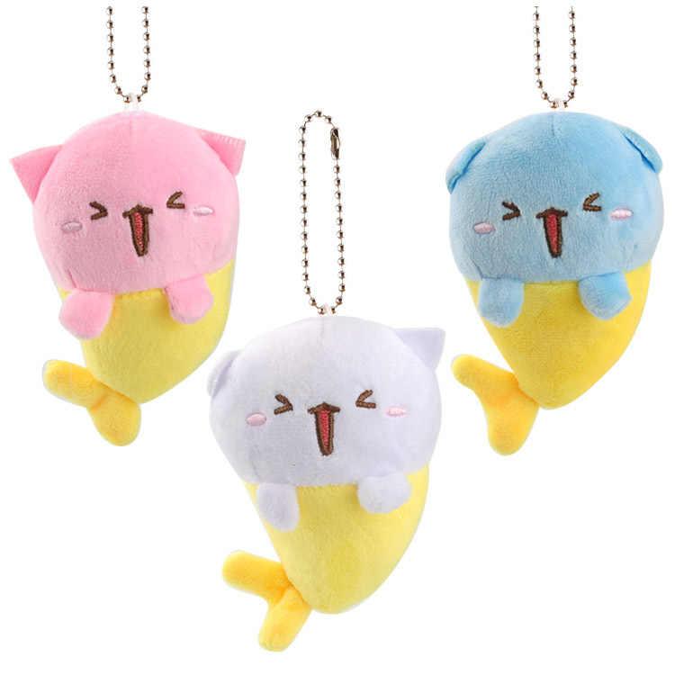 Japão gato sereia pingente brinquedo boneca clamshell boneca pelúcia chaveiro 10cm aleatoriamente preparar wj04