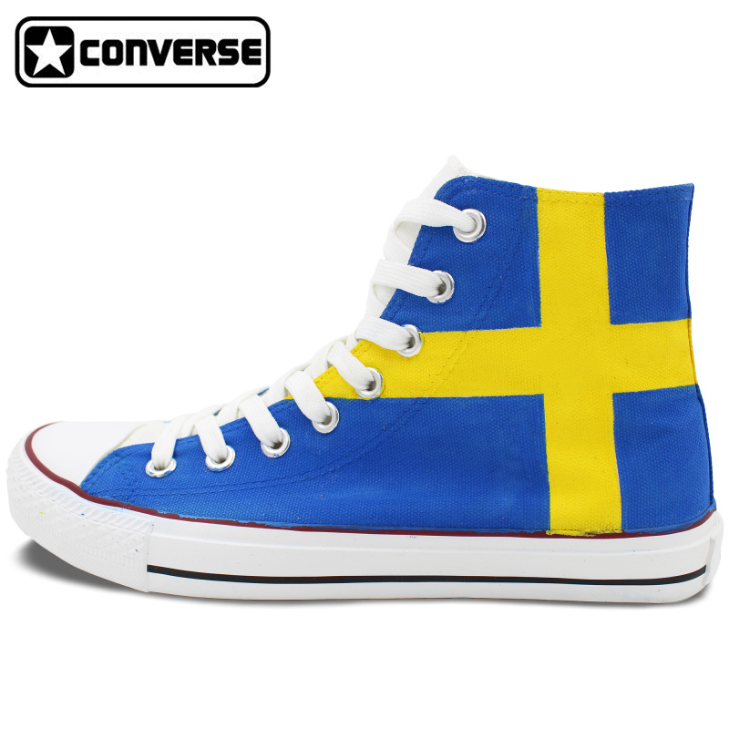 Sweden Flag font b Shoes b font Converse All Star Custom Hand Painted High Top Canvas