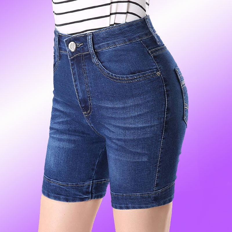 2019 Summer High Waist   Jeans   Denim Shorts Cotton Blue Embroidery Female Short   Jeans   for Women plus size