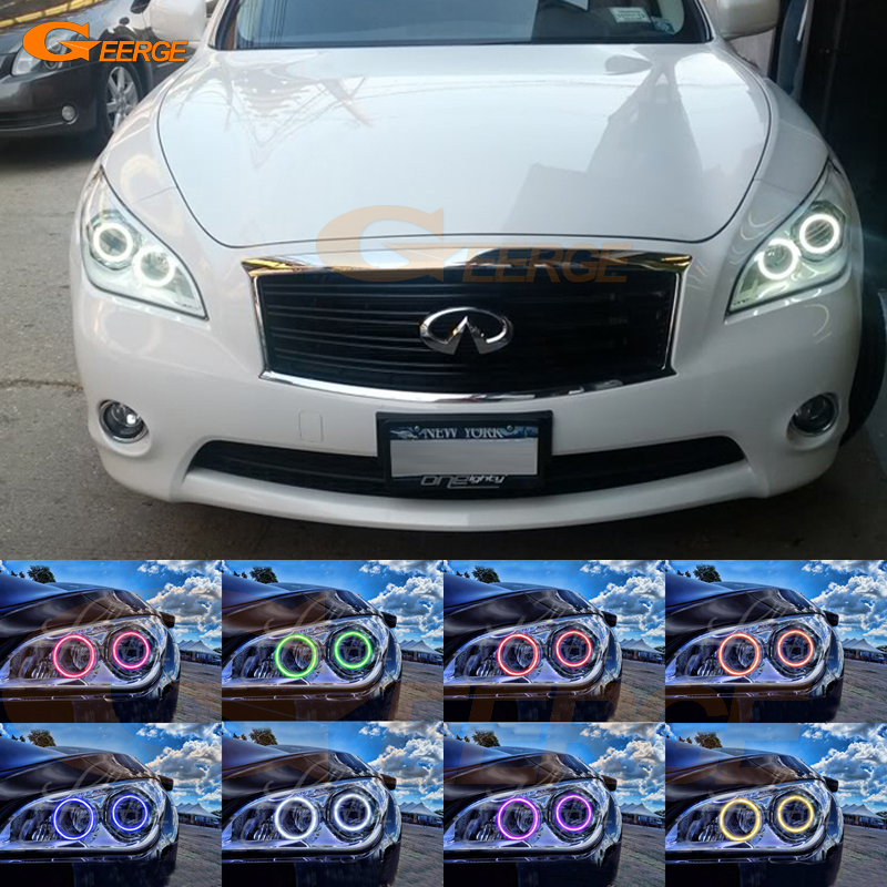For NISSAN FUGA Y51 2011 2012 2013 2014 Excellent Multi-Color Ultra bright RGB LED Angel Eyes kit Halo Rings for chevrolet camaro 2010 2011 2012 2013 excellent angel eyes kit multi color ultrabright rgb led angel eyes halo rings