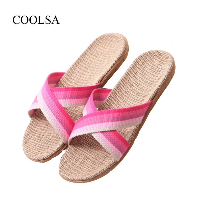 COOLSA Women's Summer Flat Flax Gradient Color Slippers Fashion Indoor Non-slip Linen Slippers Women's Beach Flip Flops Slides coolsa women s summer flat non slip linen slippers indoor breathable flip flops women s brand stripe flax slippers women slides