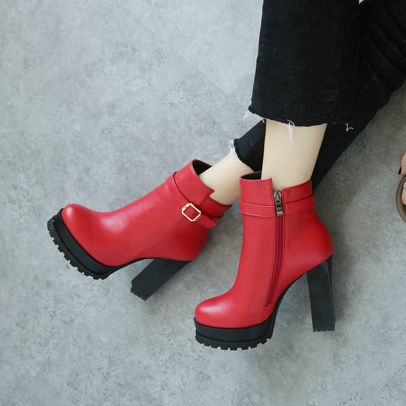Black Red High Heel Ankle Boots for