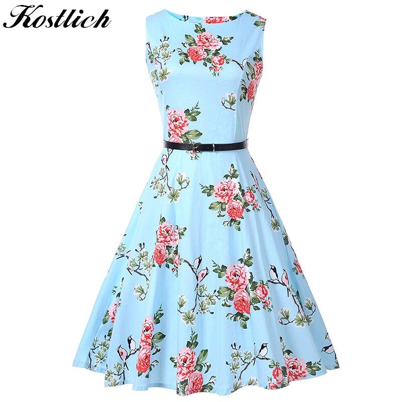Kostlich Imprimé floral Robe D'été Femmes Sans Manches 50 s 60 s Tunique Vintage Robe Avec Ceinture 2018 Coton Parti Robes robe d'été