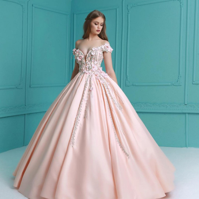 eadb137554a Exquisite Blush Pink Quinceanera Dresses Graduation Gown Crystals Beaded  Off-Shoulder Flowers Custom Made Sweet 16 Dress Long