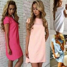 Summer Women Casual Loose Short Sleeve Evening Party Mini Dress