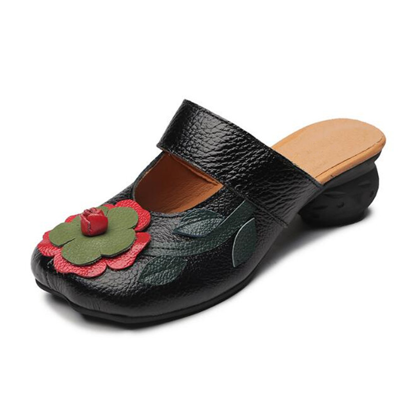 ZXRYXGS Brand Sandlas Low-heeled Summer Women Sandals Slippers 2019 New Mixed Color Cowhide Flowers Women Shoes Fashion Sandals