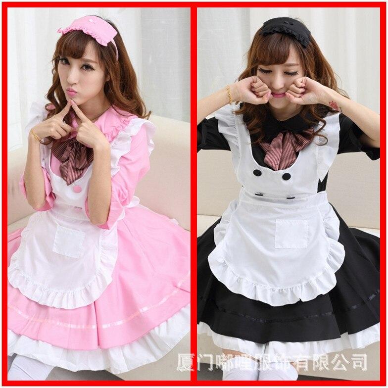 Livraison rapide gratuite 2019 nouveau mignon rose Lolita tenue de femme de chambre de princesse robe Cosplay Restaurant uniforme noir commis