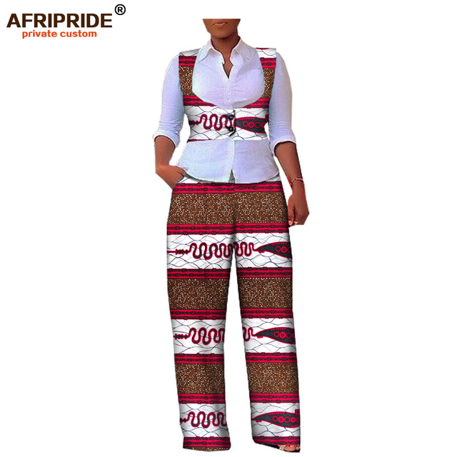 2019 autumn women 2-pieces suit african print AFRIPRIDE sleeveless short vest+full-length pant casual women cotton suit A722645
