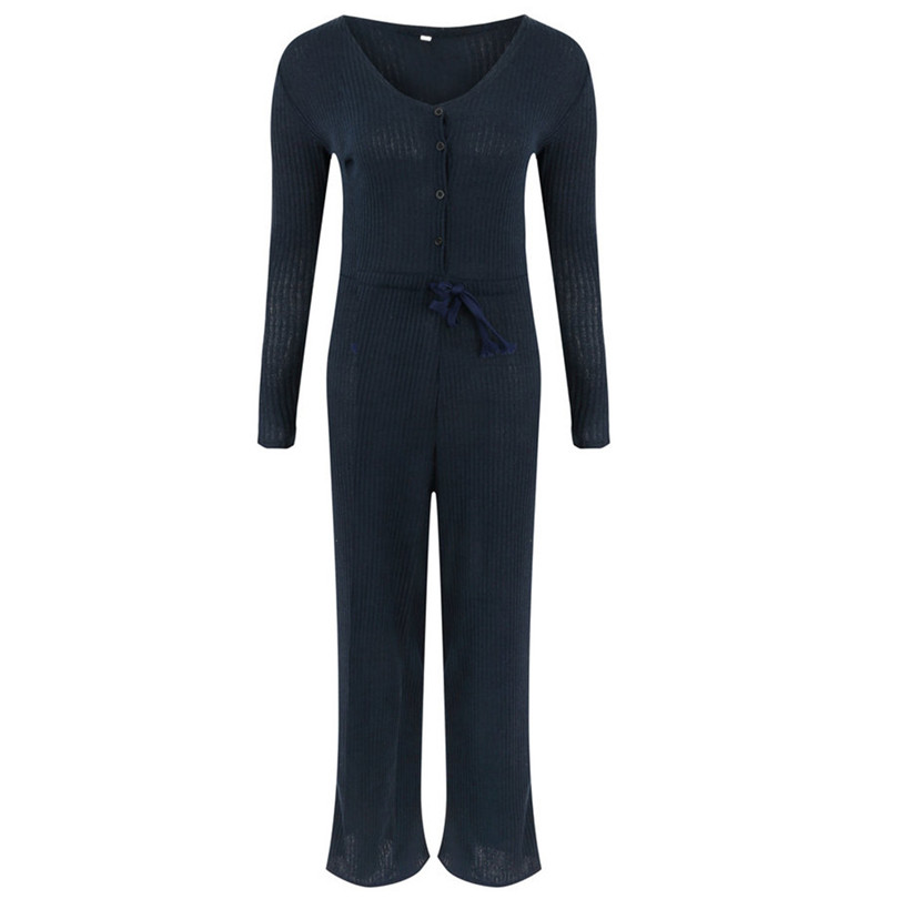 Long Sleeve Sexy Jumpsuit V Neck Rompers Womens Jumpsuit Button Lace Up Jumpsuit Plus Size Casual Macacao Feminino 40SY1402