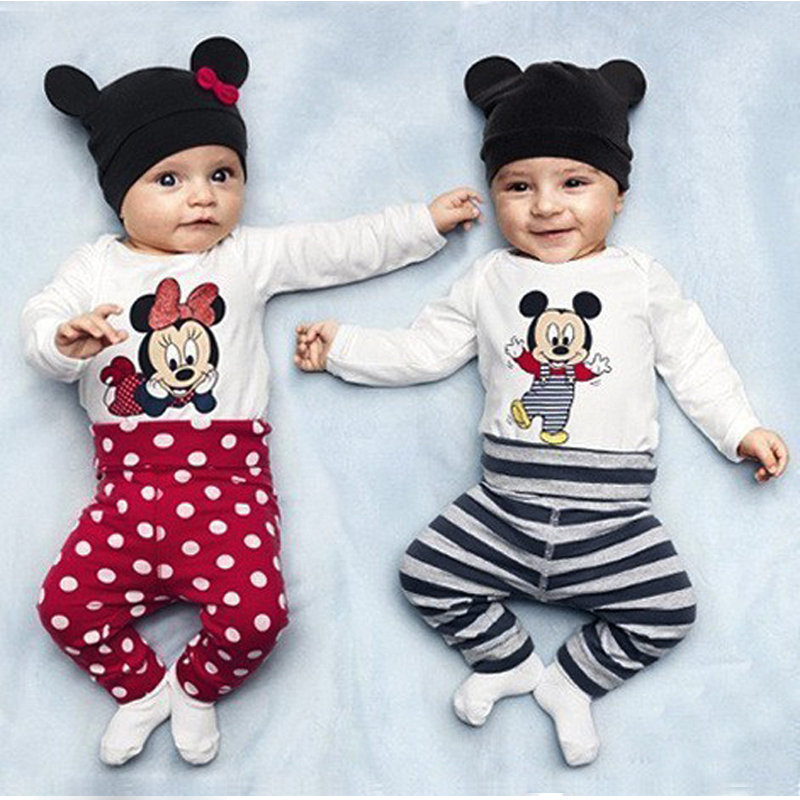 Baby's Girl Sets Mickey Minnie Cotton Newborn Clothing Full Sleeve Bodysuit+Pant+Hat Spring Infant Jumpsuit Baby Boy Clothes red minnie children suits long sleeve newborn baby girl summer clothes bodysuit tutu skirt sets infant clothing toddler outfits