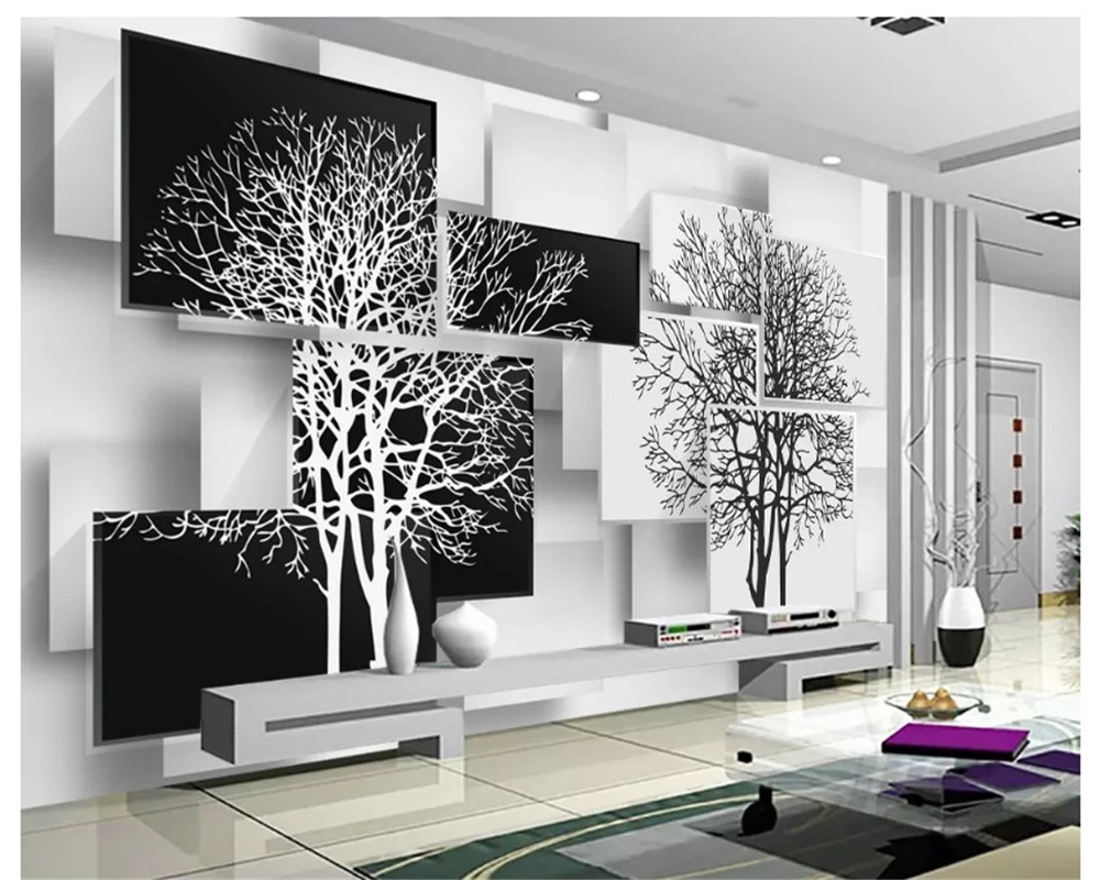Beibehang Wallpaper 3d Hang Simple Black And White Paintings On The