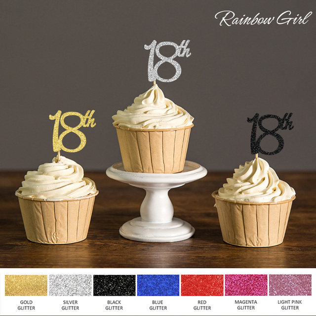 Gold Silver Black Glitter 18th Cupcake Toppers Picks For Eighteen Birthday Party Favors Cake Decorations