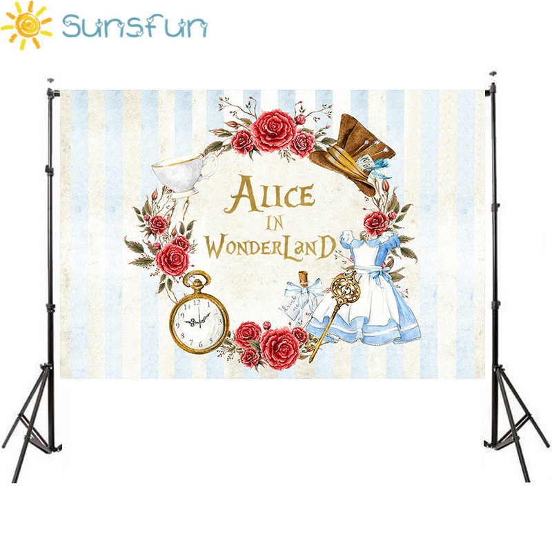 Sunsfun 220x150 Vinyl Alice in Wonderland Games Party Custom Photo Backdrops Poker Children Photography Studio Background(China)
