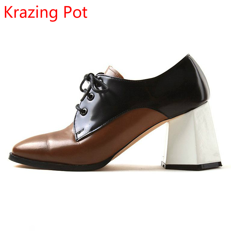 Krazing Pot full grain leather Korean girl shoes women vintage mixed color round toe square high heel movie star women pumps L26 vinlle 2017 women pumps college style square med heel vintage slip on pu leather shoes casual round toe girl shoes size 34 40