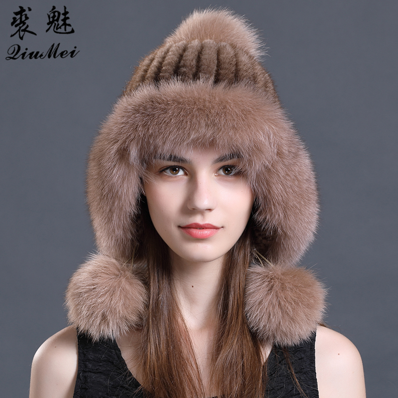 Women Winter hats New Knitted Mink Fur Hats Genuine Mink Cap With Fox Fur Pom Poms