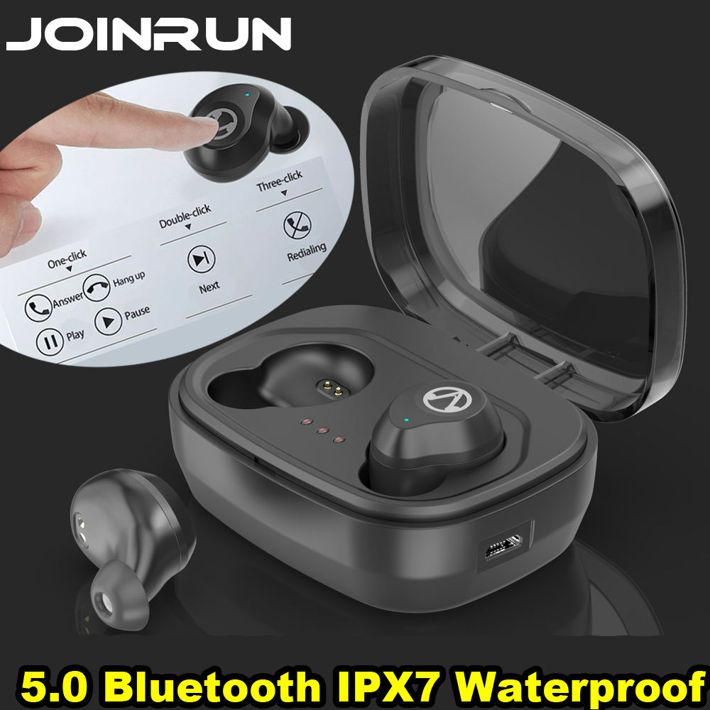 JOINRUN TWS 5.0 Bluetooth Earphone Touch Control Stereo Music In-ear Type IPX7 Waterproof Wireless Earbuds with Charging box tws 5 0 bluetooth earphone touch control stereo music in ear type ipx6 waterproof wireless earbuds with charging box yz209