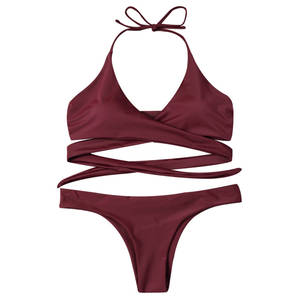 e005e49c6d98b Women Sexy Strappy Push Up Swimsuit Black Red Blue 2018 Maillot De bain
