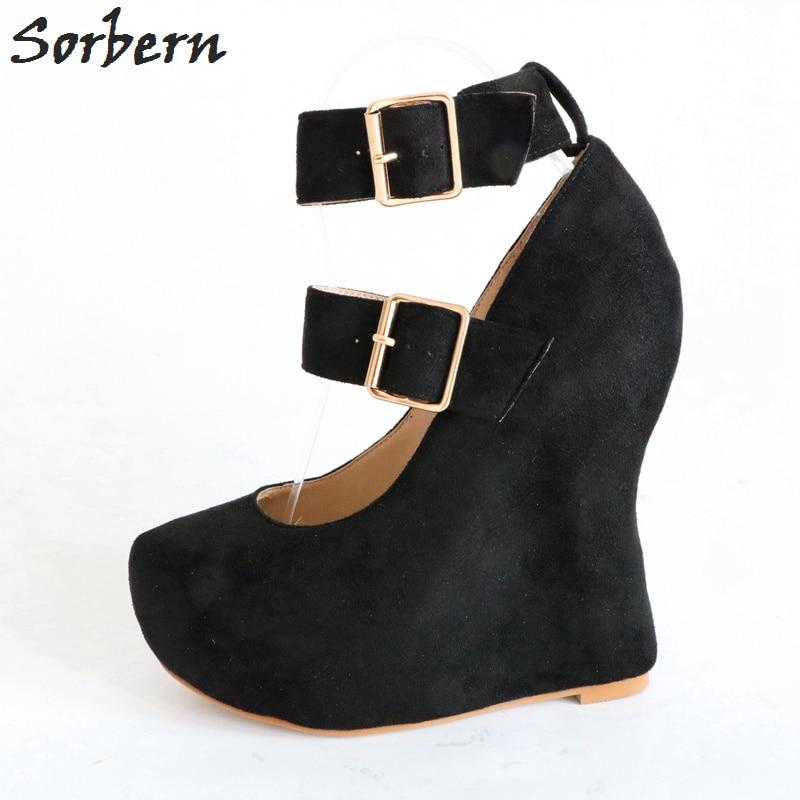 Douce Noir Dames Taille Partie Noir Sangle 46 cusstom La Eu35 Mode Wedge Plus Pompes Femmes Chaussures Color De Boucle Sorbern anSwT0q0
