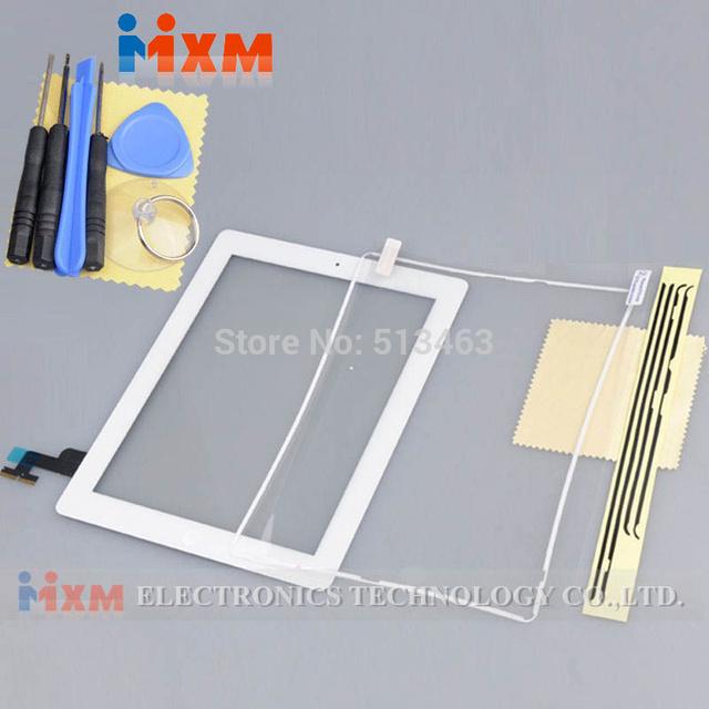 Para ipad 2 2nd tela sensível ao toque digitador montagem botão home + quadro + ferramentas branco frete grátis